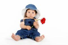Criança com uma margarida vermelha fotografia de stock royalty free