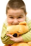 Criança com urso Fotografia de Stock