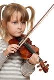 Criança com violino Imagens de Stock Royalty Free