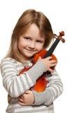 Criança com violino Fotografia de Stock Royalty Free