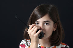 Criança com Walkietalkie Foto de Stock