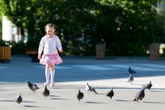 A criança corre após os pombos na área fotografia de stock royalty free