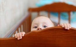 Criança curiosa que espreita fora do berço Imagens de Stock