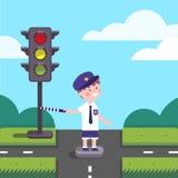 Criança da bobina do oficial do tráfego que trabalha no cruzamento de estrada ilustração stock