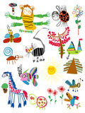 Os desenhos das crianças imagens de stock