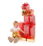 Criança 2016 da criança do bebê da criança do conceito do ano novo com pres do Natal Imagens de Stock Royalty Free