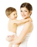 Criança da mãe e da criança, mulher que guarda a criança, branca fotografia de stock royalty free