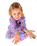 Criança da menina com mãos abertas Fotos de Stock Royalty Free