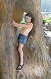 A criança da menina fora senta-se na árvore com pintura da cara da borboleta Imagem de Stock