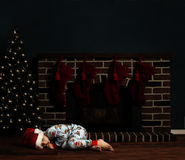 Criança da noite de Natal Fotografia de Stock