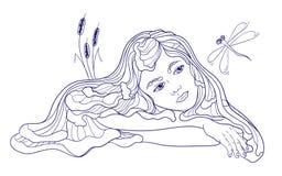 Criança da sereia de Dreamind com libélula ilustração royalty free