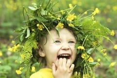 Criança de flor de sorriso fotografia de stock