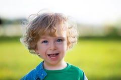 Criança de riso em um prado do verão Foto de Stock Royalty Free
