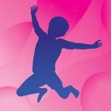 Criança de salto & fundo abstrato Fotografia de Stock