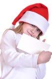 Criança de Santa com uma bandeira Fotografia de Stock Royalty Free