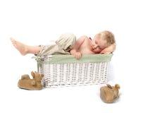 Criança de sono na cesta Fotografia de Stock
