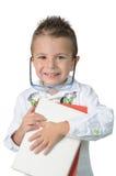 Criança de sorriso em seu primeiro dia da escola Imagens de Stock Royalty Free