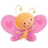 Criança de sorriso feliz dos desenhos animados que veste o costu engraçado da borboleta do carnaval Fotos de Stock
