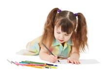 A criança desenha o desenho de pastel Imagens de Stock Royalty Free