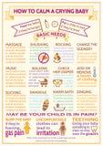 Criança detalhada do bebê do vetor infographic Molde da apresentação como acalmar um bebê de grito fotografia de stock royalty free