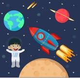 Criança do astronauta no espaço com navio do foguete imagem de stock