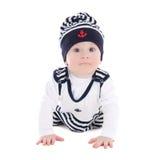 Criança do bebê na roupa do marinheiro isolada no branco imagem de stock