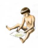 Criança do desenho (colorida) Foto de Stock Royalty Free