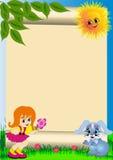 Criança do fundo com flor Fotografia de Stock Royalty Free