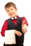 Criança do menino do empregado de mesa Imagem de Stock Royalty Free
