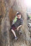A criança do menino fora senta-se na árvore com pintura da cara da borboleta Fotografia de Stock Royalty Free