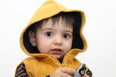 Criança do menino na roupa da queda fotografia de stock