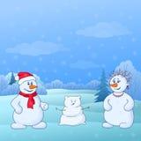 Criança do molde de Snowmens na floresta ilustração do vetor