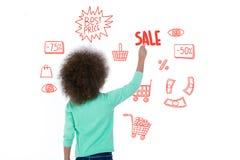 Criança doce que mostra dados da venda Foto de Stock Royalty Free