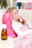 Criança doente em casa Foto de Stock Royalty Free