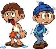 Criança dos desenhos animados no tempo quente e frio Fotos de Stock