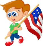 Criança dos desenhos animados que guarda a bandeira americana Fotos de Stock Royalty Free