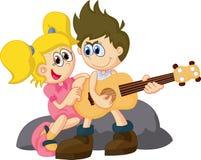 Criança dos desenhos animados que guarda a guitarra Foto de Stock Royalty Free