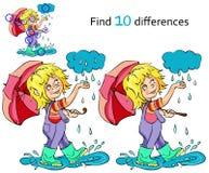 Criança dos desenhos animados que joga na chuva Vetor Fotos de Stock Royalty Free