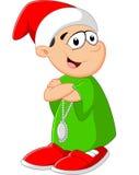 Criança dos desenhos animados que levanta com chapéu vermelho Imagem de Stock