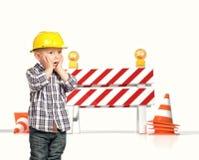 Criança e barreira 3d do tráfego Fotografia de Stock Royalty Free