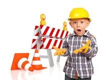 Criança e barreira 3d do tráfego Fotografia de Stock