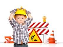 Criança e barreira 3d do tráfego Fotos de Stock