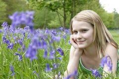 Criança e bluebells Imagens de Stock