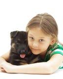 Criança e cão Foto de Stock