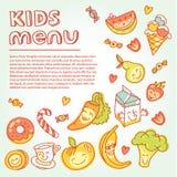 Criança e comida para bebê, menu das crianças com colorido Imagens de Stock Royalty Free