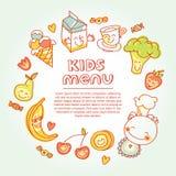 Criança e comida para bebê, menu das crianças com colorido Foto de Stock