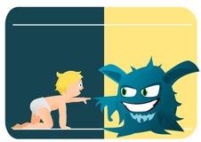 Criança e monstro Imagens de Stock
