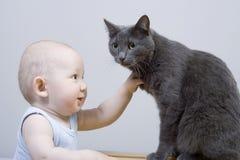 A criança e o gato Fotografia de Stock Royalty Free