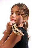 Criança e serpente imagens de stock