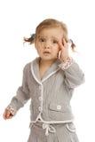 Criança e telemóvel Fotos de Stock